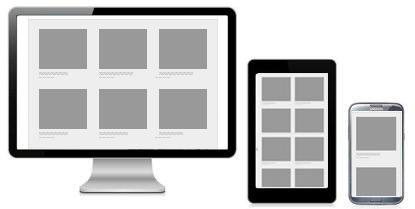 3 different viewport layouts, where the size of images differs based on the viewport.
